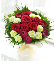 10 Green Carnations, 6 Kunming Red Roses and 5 Red Gerberas Online Order to Cebu Philippines