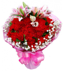 29 Red Carnations and 2 Stalks of Pink lilies Online Order to Cebu Philippines