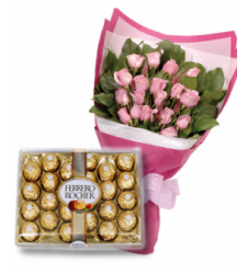 24 Pink Roses with 24 pcs Ferrero Chocolate