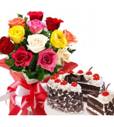 12 mixed roses and black forest cake to cebu