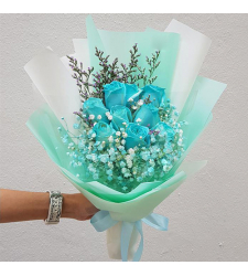 send 9 pcs. soft blue roses in bouquet to cebu