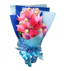 send 12 pcs. ferrero with 3 pcs. roses bouquet to cebu