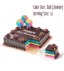 send 8x8 (junior) rainbow dedication cake by red ribbon to cebu