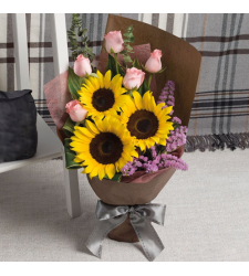 3 Sunflower and 5 Pink Roses Bouquet