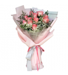 send passionate 12 pink roses bouquet to cebu