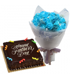 send fathers day blue roses with chocolate cake to cebu