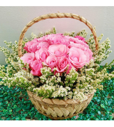 send arrangement of 24 pink roses basket to cebu