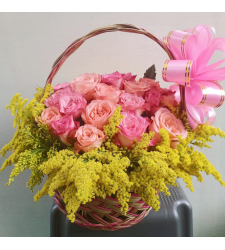 send 24 pcs. pink and peach roses basket to cebu