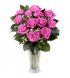 send 12 premium hot pink roses vase to cebu