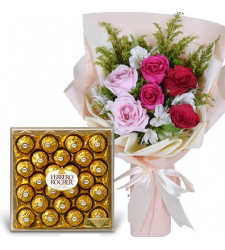 6 Mixed Roses with 24 Ferrero Chocolate