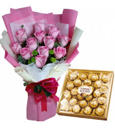 12 Pink Rose Bouquet with 24pcs Ferrero Chocolate