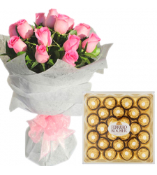 12 Pink Roses Bouquet with 24 pcs Ferrero Chocolate