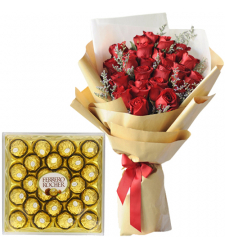 24 Red Rose with 24 pcs Ferrero Chocolate Box