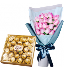20 Pink Roses with 24 Ferrero Chocolate Box