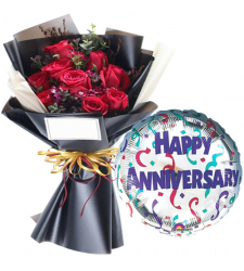 Dozen Of Red Roses Bouquet with Anniversary Balloon