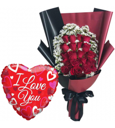 24 Red Roses Bouquet with Mylar Balloon