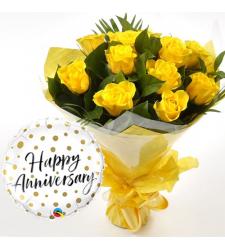 12 pcs Yellow Roses & Anniversary Balloon
