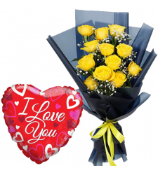 12 pcs Yellow Roses with Love You Balloon