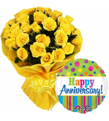 24 Yellow Roses Bouquet with Mylar Balloon