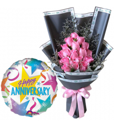 18 Pcs. Pink Roses Bouquet with Anniversary Balloon