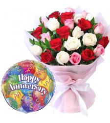 24 Pcs Mixed Roses with Anniversary Balloon