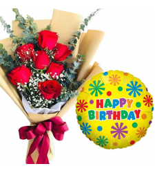 7 pcs Red Roses Bouquet with Birthday Mylar Balloon