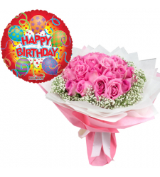 24 pcs Pink Roses Bouquet and Birthday You Balloon