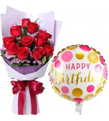 Dozen of Red Roses Bouquet with Birthday Mylar Balloon