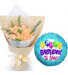 24 Pcs Peach Roses with Birthday Mylar Balloon