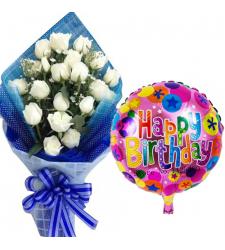 18 pcs White Roses with Birthday Mylar Balloon
