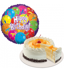 Peach Mango Cake with Birthday Mylar Balloon
