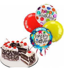 Black Forest Cake with Birthday Mylar Balloon