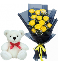 12 Yellow Roses in Bouquet with White Bear