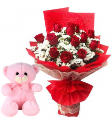 12 Pcs. Red Roses with Small Teddy Bear