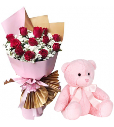 Dozen of Red Roses Bouquet with Pink Bear