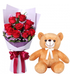 12 Red Color Roses with Small Teddy Bear