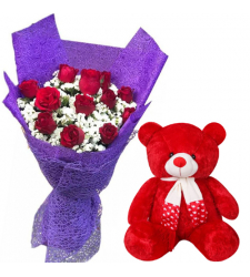"12 Red Roses in Bouquet with 8"" Small Bear"