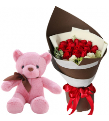 15 Red Roses in Bouquet with Small Bear