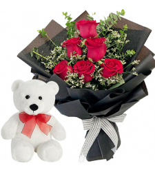 6 Red Roses in Bouquet with White Bear