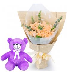 """24 Peach Color Roses with 8"""" Teddy Bear"""