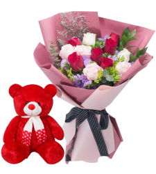 "12 Multi Color Roses with 8"" Inch Teddy Bear"