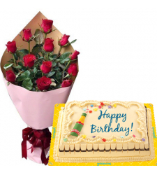 12 Pcs. Red Roses Bouquet with Birthday Marble Cake