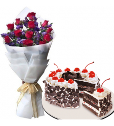 12 Red Roses Bouquet with Black Forest Cake