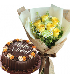 Choco Caramel Cake with 6 Yellow Roses Bouquet