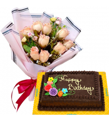 9 Pcs. Peach Roses Bouquet with Birthday Cake