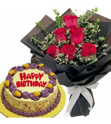 6 Pcs. Red Roses Bouquet with Birthday Cake