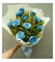 send 1 dozen blue roses in bouquet to cebu