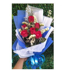 send 6 pcs. red color roses in bouquet to cebu