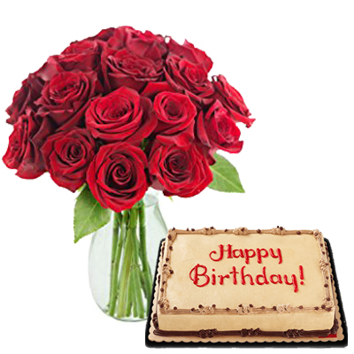 12 red roses vase with mocha dedication cake to cebu
